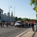 """Demonstrators were marching against the so called """"Freedom Fest"""", celebrated by the Burschenschaften and their historical revisionism of the 1848 revolution.Photo: Caio Kauffmann"""
