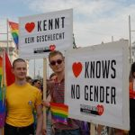 The sign in German reads as in English: 'Love knows no gender'.Photo: Kim Traill