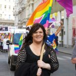 Another of the organisers - representing Vienna's transgender community - marches along Mahlerstrasse.Photo: Kim Traill