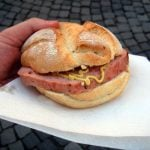 Despite its misleading name, Leberkäse isn't a cheese. It's similar to meat loaf - with corned beef, bacon, and pork cuts ground, mixed and then baked together. Some market stands even offer a version made of horse meat. Austrians like it sandwiched in a Semmel and it's often the snack of choice after a session of late-night drinking.Photo: Wikimedia Commons