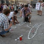 Organisers from the protest movement Democratic Ukraine formed the outline of a plane in candles. Photo: Kim Traill