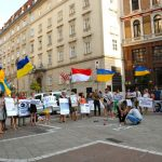 Some protesters waved Ukrainian flags, others held placards with anti-Putin slogans. Photo: Kim Traill