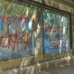 The 'Pizzeria Anarchists' lost considerable public support when they (or their sympathizers) vandalized some art work at the Agora open-air art gallery by the Donaukanal at Schwedenplatz.Photo: Shoshana Rae Stark