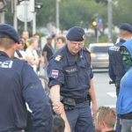 The on-scene police commander demonstrated leadership and empathy, quietly persuading protestors to stop blocking the main road.Photo: Paul Gillingwater