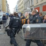 Riot shields indicated police were ready for trouble.Photo: Paul Gillingwater
