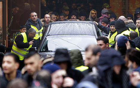 The hearse carrying Omar El-Hussein leaves a Copenhagen mosque on Friday. Photo: Nils Meilvang/Scanpix