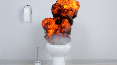 Woman hurt by exploding toilet