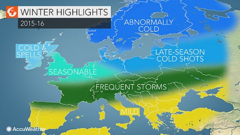 Accuweather's prediction for Europe's winter. Graphic: Accuweather