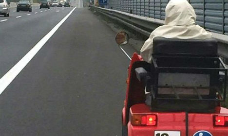 Gran drives mobility scooter down motorway