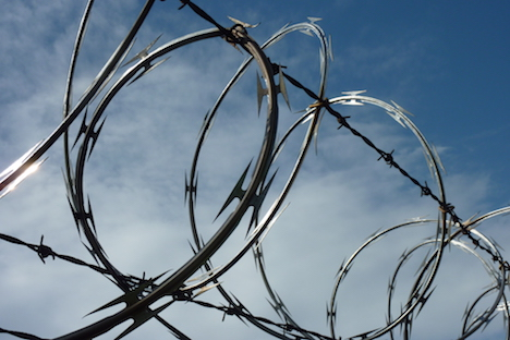 Razor wire fence appears on Slovenian border