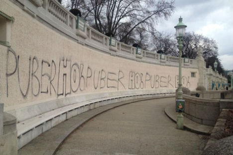 Vienna gallery shows convicted vandal's graffiti