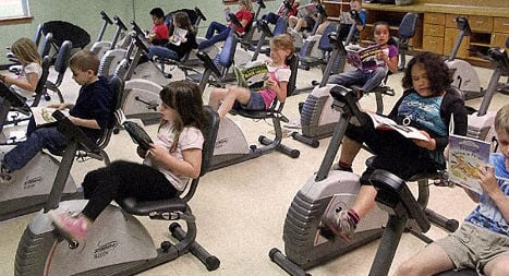 Austrian students keep fit with classroom bikes