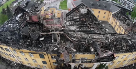Historic Austrian palace roof goes up in flames