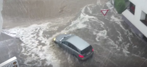 Severe storms leading to flooding in Tirol