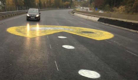 Giant yellow Pac-Man appears on Austrian motorway