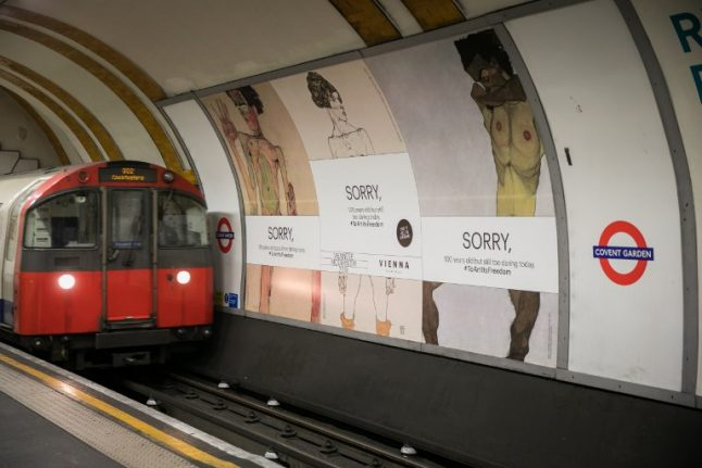 London Tube gets covered-up versions of Schiele nudes after it deems the originals too racy
