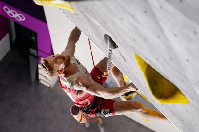 Austria's Jakob Schubert competes in the men's sport climbing lead qualification during the Tokyo 2020 Olympic Games (Photo by Jeff ROBERSON / POOL / AFP)