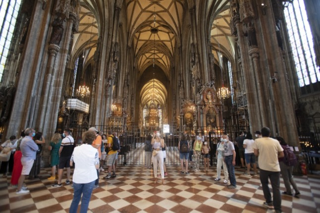 Vaccination is lagging in Austria, despite initiatives such as opening a vaccination centre in the famous St Stephen's Cathedral in Vienna. (Photo by ALEX HALADA / AFP)