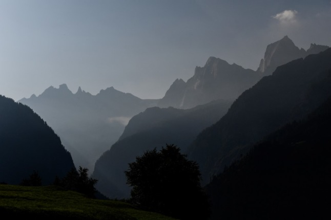 Mountains on the Swiss and Austrian border. (Photo by MIGUEL MEDINA / AFP)